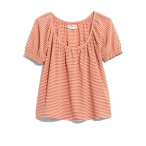 Madewell Peasant Top in Stripe Tee Shirt 2X